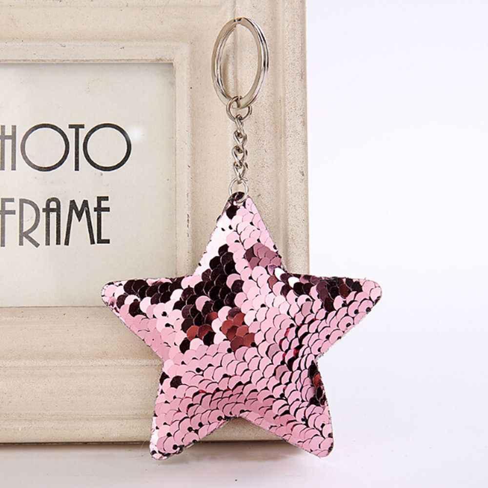 Пентаграмма блесток брелок Подвеска Светоотражающая Глянцевая звезда брелок колечко для ключей для женщин брелок для ключей летняя бижутерия