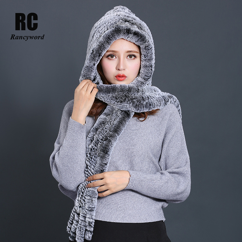 [Rancyword] Women's Winter Scarves Hat New Luxury Fur Scarf Female Real Rabbit Fur Beanie Hat For Women Hooded Scarf RC1356