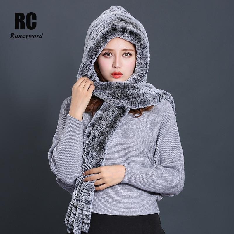 [Rancyword] bufandas de Invierno para mujer, nueva bufanda de piel de lujo, gorro de piel de conejo Real para mujer bufanda con capucha RC1356