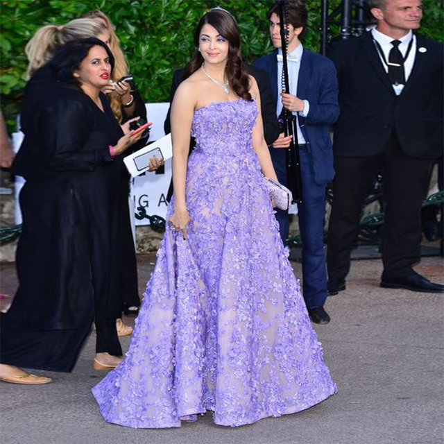 65d037dfad Lilac Arabic Long Prom Dresses With Floral Applique Special Occasion 2017 Indian  Celebrity Dress Strapless Formal Evening Gowns
