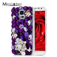 Original Mavis S Diary Luxury Purple Flower Rhinestone Case Hard PC Shell Back Cover For Samsung