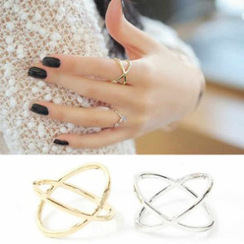hot fashion of the new X thermal model of finger for women surrounding three-dimensional hollow ring cross free shipping