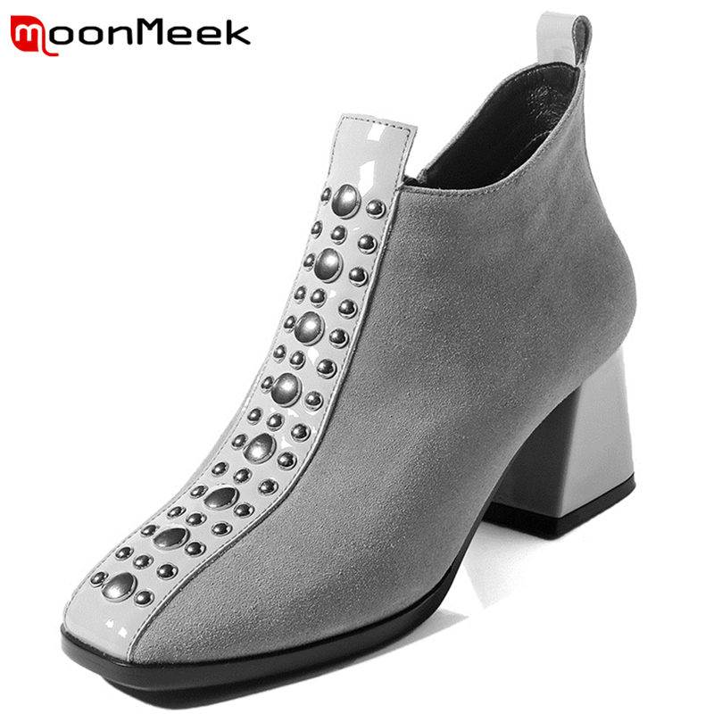 MoonMeek NEW 2018 fashion metal decoration ankle boots women cow suede high heel square toe zipper boots casual shoes SIZE 33-43MoonMeek NEW 2018 fashion metal decoration ankle boots women cow suede high heel square toe zipper boots casual shoes SIZE 33-43