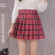 acc7d4644a Korean style women zipper high waist skirt school girl faldas pleated plaid  skirt sexy red mini