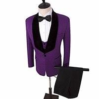 Портной Костюмы Блейзер фиолетовый свадебный костюм с принтом Жених Смокинги шаль лацкан друг жениха костюм Индивидуальный заказ Мужская