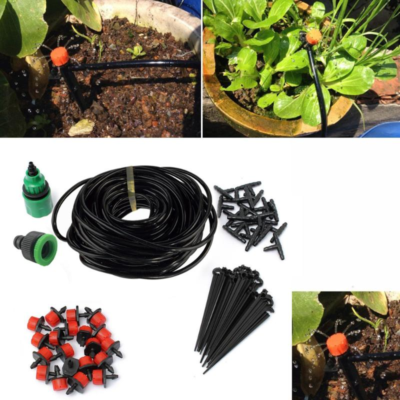 25M DIY Watering Drip Irrigation System Garden Tool Set Automatic Micro Dripper Head Connector for Flowerspot Plants Watering extrusion type plastic plants watering can kettle ivory 250ml
