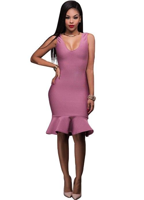Lady Summer V Neck Ruffles Hem Party Dress Women Sleeveless Backless Knee Length Mermaid Dresses Femme