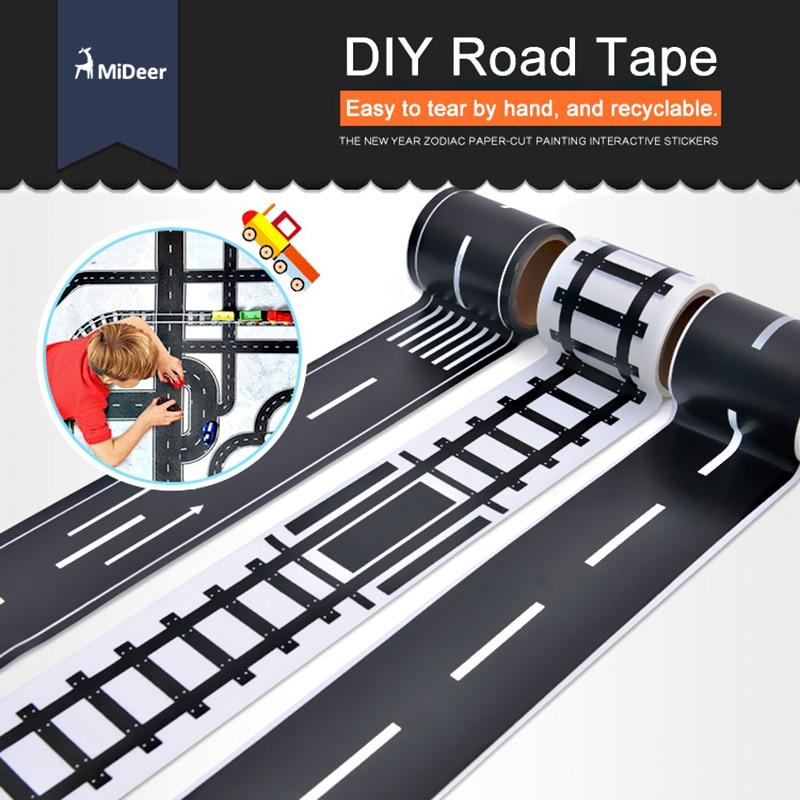 MiDeer Kids 2 tums vägband DIY Car Track Spela fordonståg Järnvägs Expressway Motorway Creative Leksaker för barn Boy Paper