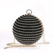 Besten Preis frauen Perle Tasche Perlen Diamant Abendtasche Braut Hochzeit Runde Ball Handgelenk Tasche Kupplung Geldbörse Handtasche SMYCWL-E0035