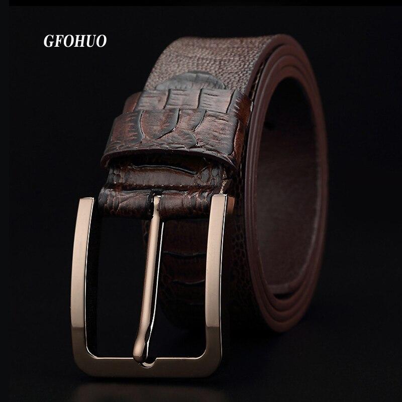 GFOHUO Luxury Alligator Grain Men Belt Pin Buckle Genuine leather Belt For men Vintage Male For men Belt Cinto machoMens Belts   -