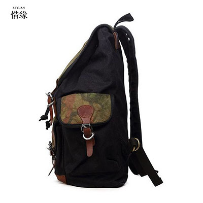2017 New Men Big Canvas Backpacks for Men travel large capacity bag arcuate shoulder strap solid male backpack Khaki black bags