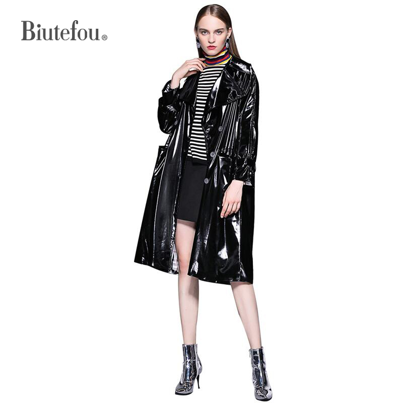 2019 Spring and autumn solid color black bright coat women fashion double breasted   Trench