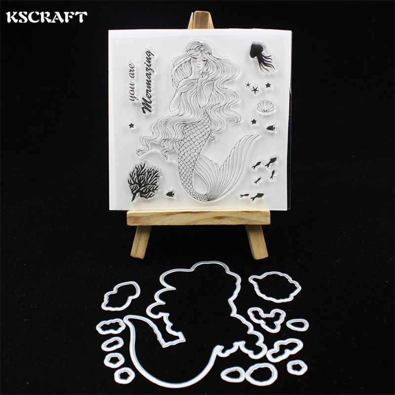 KSCRAFT Beauty Mermaid Stamp Metal Cutting Dies for DIY Scrapbooking/Card Making/Kids Fun Decoration Supplies 233