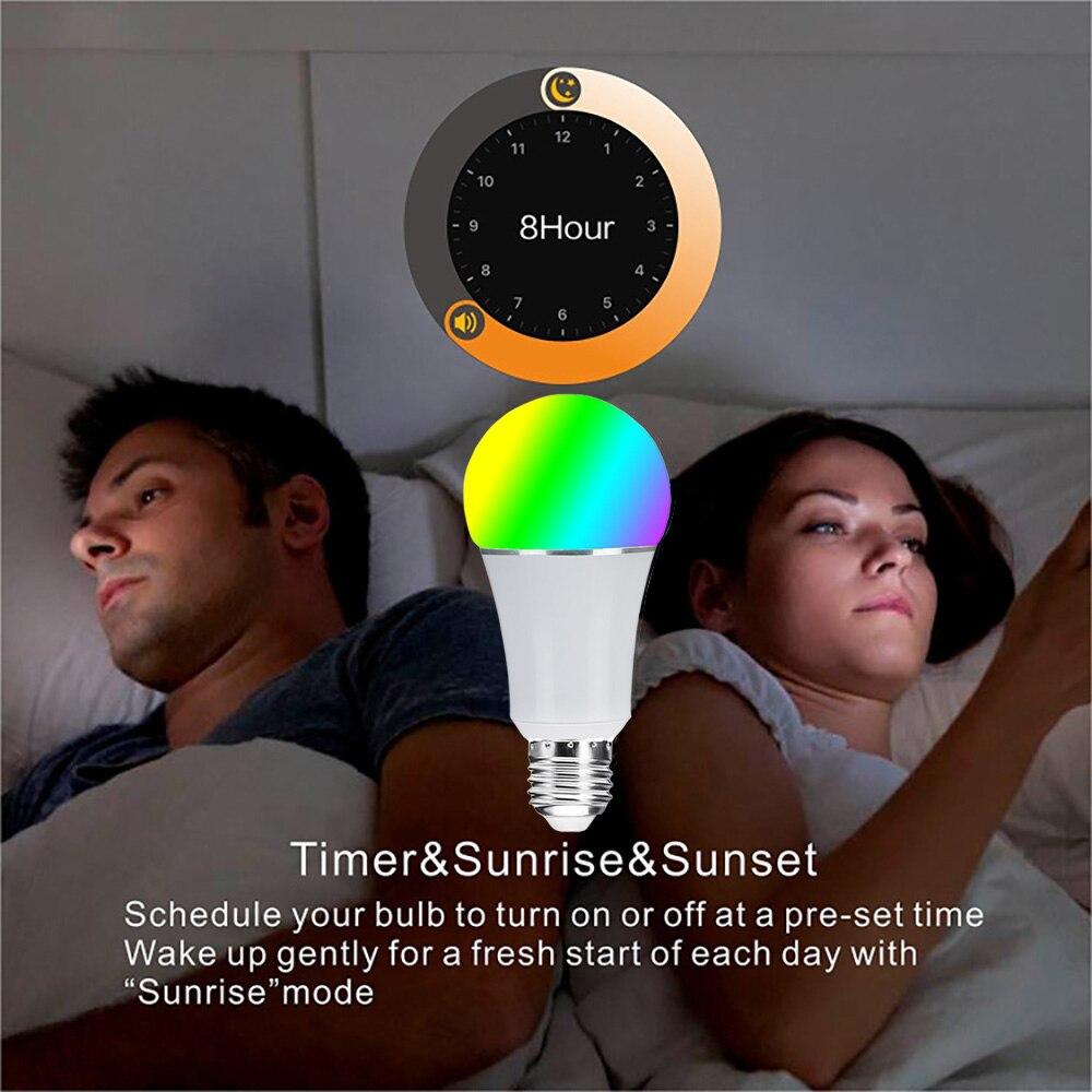 Commande vocale intelligente Wifi ampoule 16 millions RGB couleur lampe de scène Compatible avec Alexa Google Home Phone App 60 W équivalent - 6