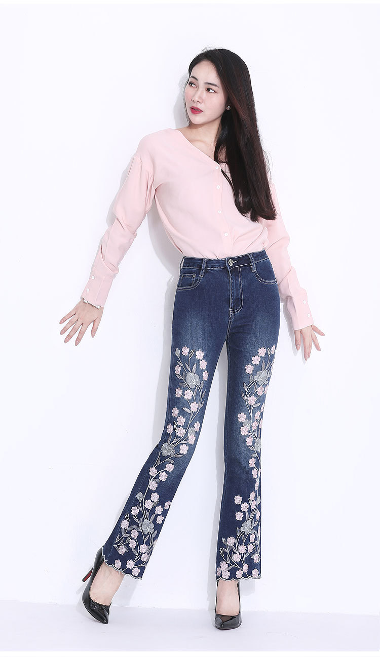 KSTUN FERZIGE Embroidered Jeans for Women 2018 Autumn Bell Bottom Flared Denim Pants Blue England Style Femme Sexy Ladies Trousers 36 14