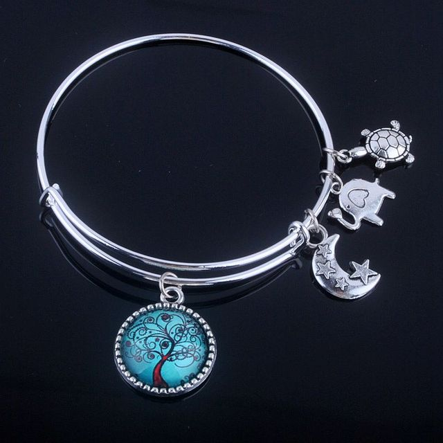 Cabochon Dome Tree of Life Charms Expandable Wire Bracelet