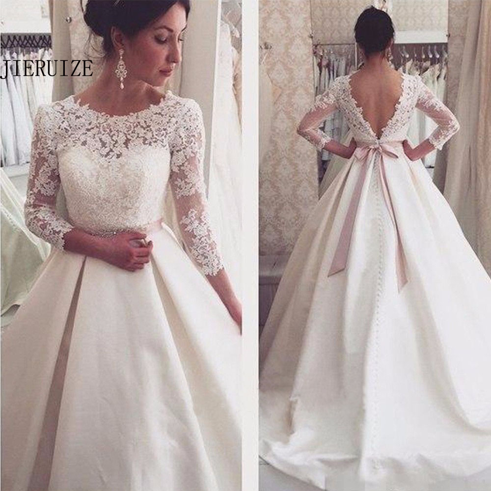 JIERUIZE White Lace Appliques Backless Wedding Dresses 3 4 Sleeves Elegant Simple Bridal Dresses Open Back