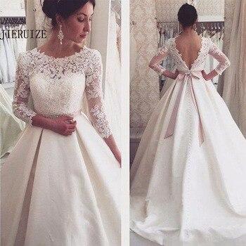 c8e532e5e6b14e2 JIERUIZE белый Кружева аппликации с открытой спиной Свадебные платья 3/4  рукава Элегантные Простые Свадебные платья с открытой спиной дешевые с.