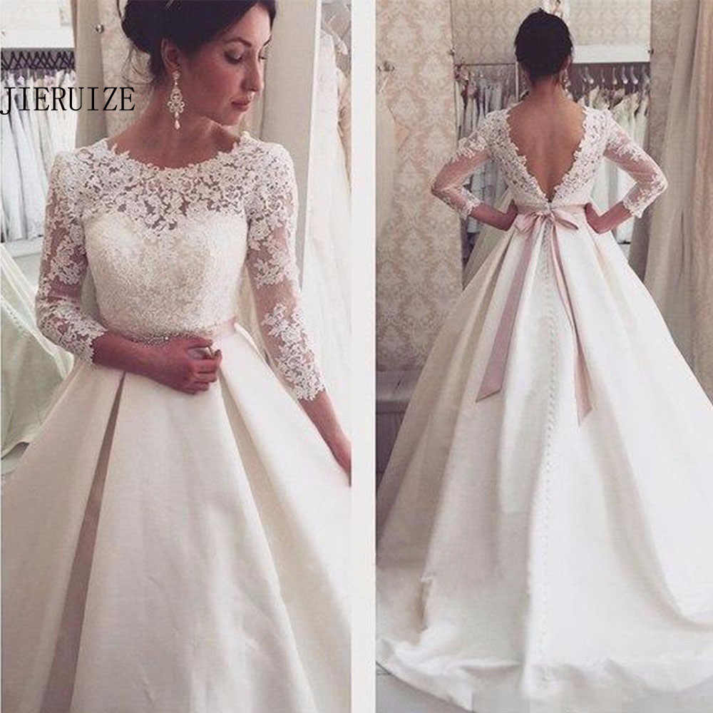 Jieruize White Lace Appliques Backless Wedding Dresses 3 4 Sleeves Elegant Simple Bridal Dresses Open Back Cheap Wedding Gowns Aliexpress,Cheap Short Wedding Dresses Online