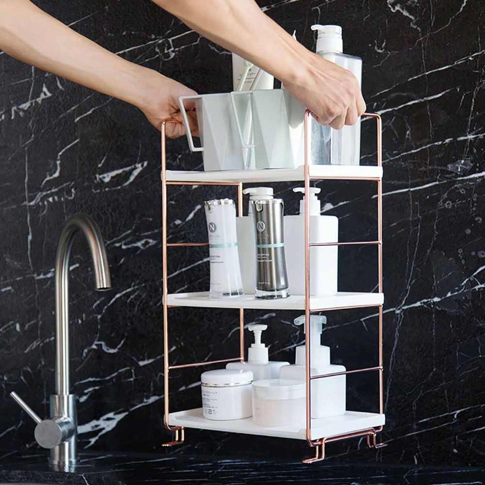 3 Layers Bathroom Corner Storage Shelf Portable Floor Shower Organizer Rack Cosmetics Shampoo Holder Assembleable Sundry Shelves