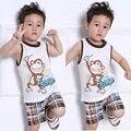 2016 nueva venta caliente ropa niños camisetas ropa del bebé de los niños del verano del bebé sin mangas de algodón que arropan el sistema