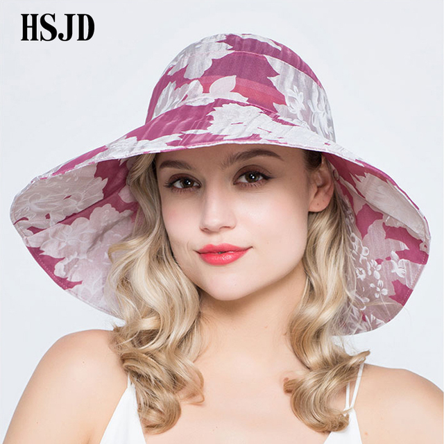 Female Summer Flower Foldable Sun Hats Large Wide Brim Anti-UV Sun Hats  Beach Hat c01b05f1ab4
