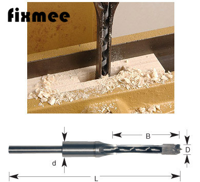 Fixmee Chisel Woodworking 12mm HSS Square Hole Saw Wood Drill Bit Mortising