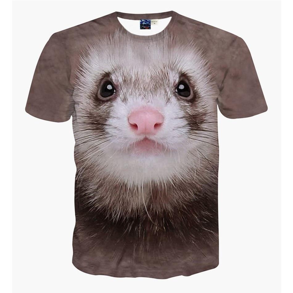 Good quality black t shirt - Good Quality Animal Cartoon Short Sleeve European Originality Round Neck Personality Squirrel Cobra Dog 3d Printing
