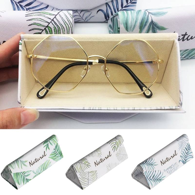 Hot PU Leather sunglass cases storage box Leaf Print eyeglass case for woman Glass Case Spectacle Reading Cases Box Lot