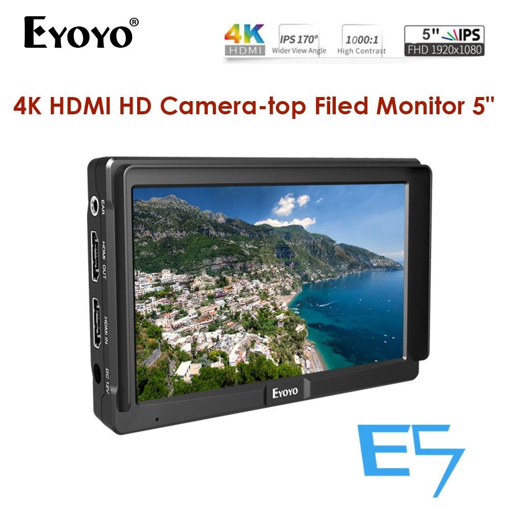 Eyoyo E5 5 inch DSLR Camera Monitor Small HD Focus Video Assist Field Monitor LCD IPS Full HD 1920x1080 4K HDMI Input Output Monitor     - title=