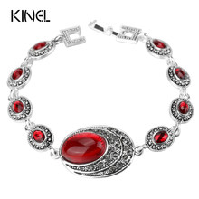 Kinel Fashion Red Bracelets For Women Charm Silver Color Gray Crystal Big Oval Main Stone Bohemian Jewelery(China)