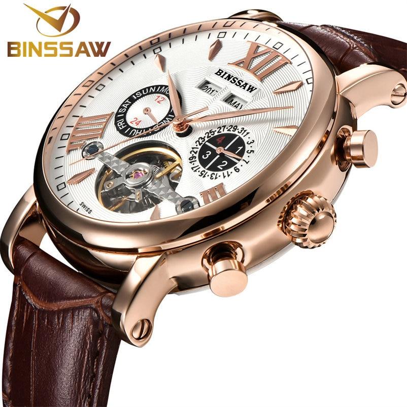 BINSSAW Men Tourbillon Full automatic Mechanical Watch Luxury Fashion Brand Leather Man Calendar Week Multifunctional Watches