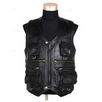 New Men S Waistcoat Genuine Leather Fishing Outdoor Reporters Suit More Than Pocket Quinquagenarian Men Cow