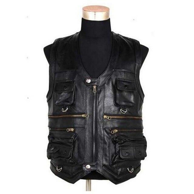 New Men's Waistcoat Genuine Leather Reporters Suit More Than Pocket Quinquagenarian Men Cow Leather Vest Tops Hi-Q