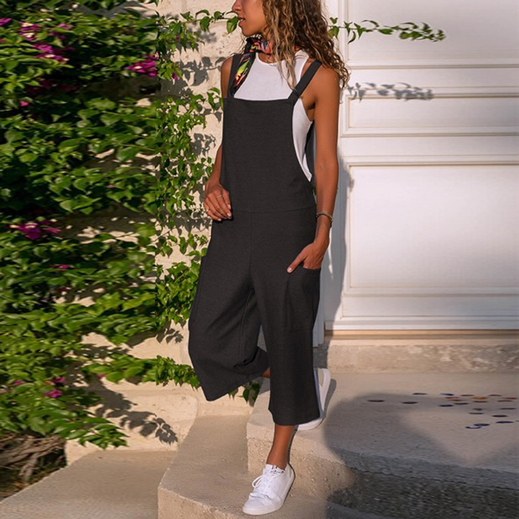 Rompers Womens Jumpsuit Sleeveless Dungarees Loose Cotton Linen Long Playsuit Party Jumpsuit monos largos mujer pantalon largo