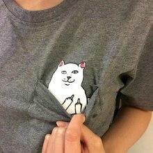 Funny Middle Finger Pocket Cat Print T Shirt Women Short Sleeve O Neck Loose Tshirt