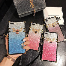 For Xiaomi Redmi Note 7 Phone Case Mi 9 Mi9 Back Cover Fashion Rivet Square Bling Gradient Glitter Lanyard Coque