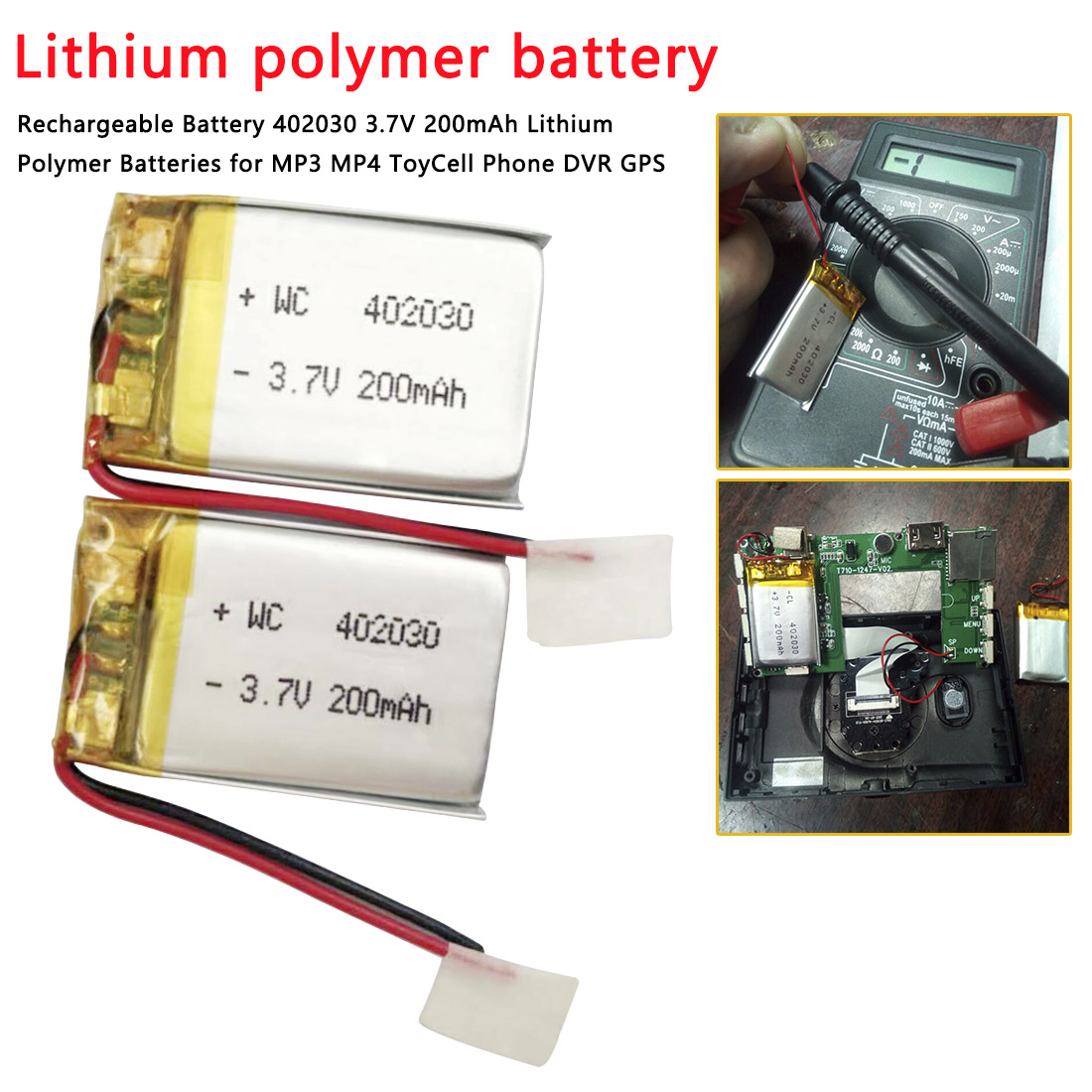 Rechargeable Battery 402030 3.7V MP3 Headphone High Capacity Li-Po battery Universal 402030 Battery Pack
