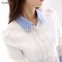 Camisa De Algodão mulheres elegante Blusa Branca com acessórios Femininos Senhoras escritório desgaste do trabalho camisa de Moda de Nova Tops de Manga Longa