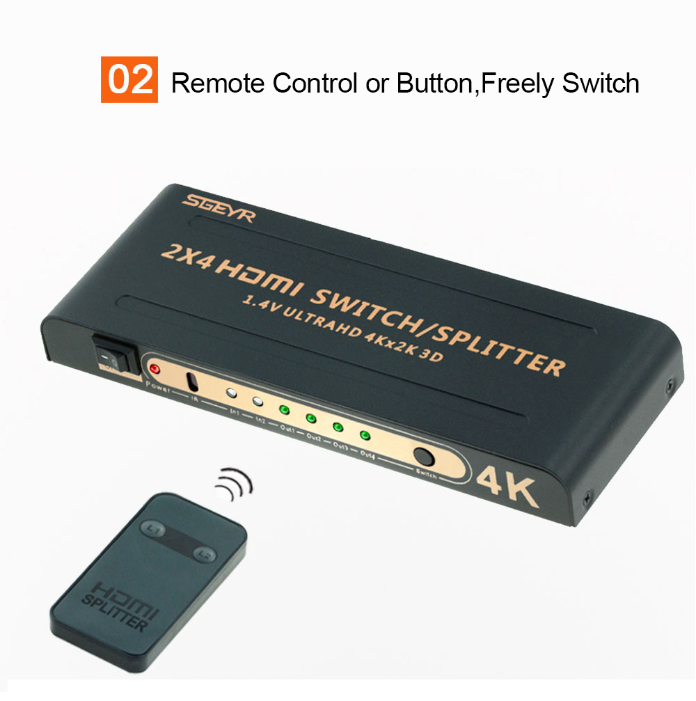 SGEYR 2x4 HDMI Switch 2 input 4 output HDMI Splitter 1 4 switch switcher 2  to 4 hdmi 4Kx2K 3D with Remote Control Switches