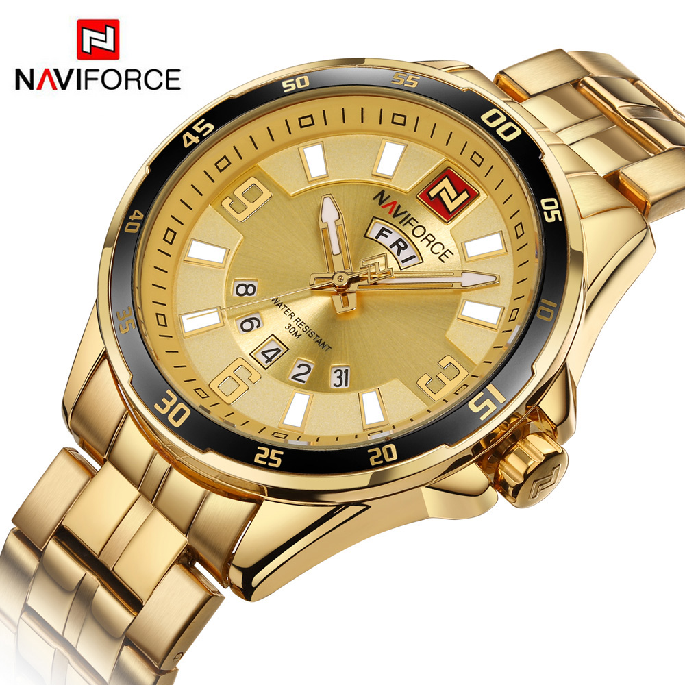 2017 NAVIFORCE Original Men Steel Quartz Watch Sports Watches Man Military Waterproof Clock Men's Wristwatches relogio masculino weide new men quartz casual watch army military sports watch waterproof back light men watches alarm clock multiple time zone