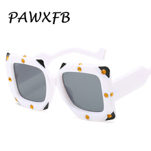 PAWXFB 2019 Trendy Oversized Square Sunglasses Women Men New Luxury Fashion High Quality Diamond Italian Sun Glasses For Female