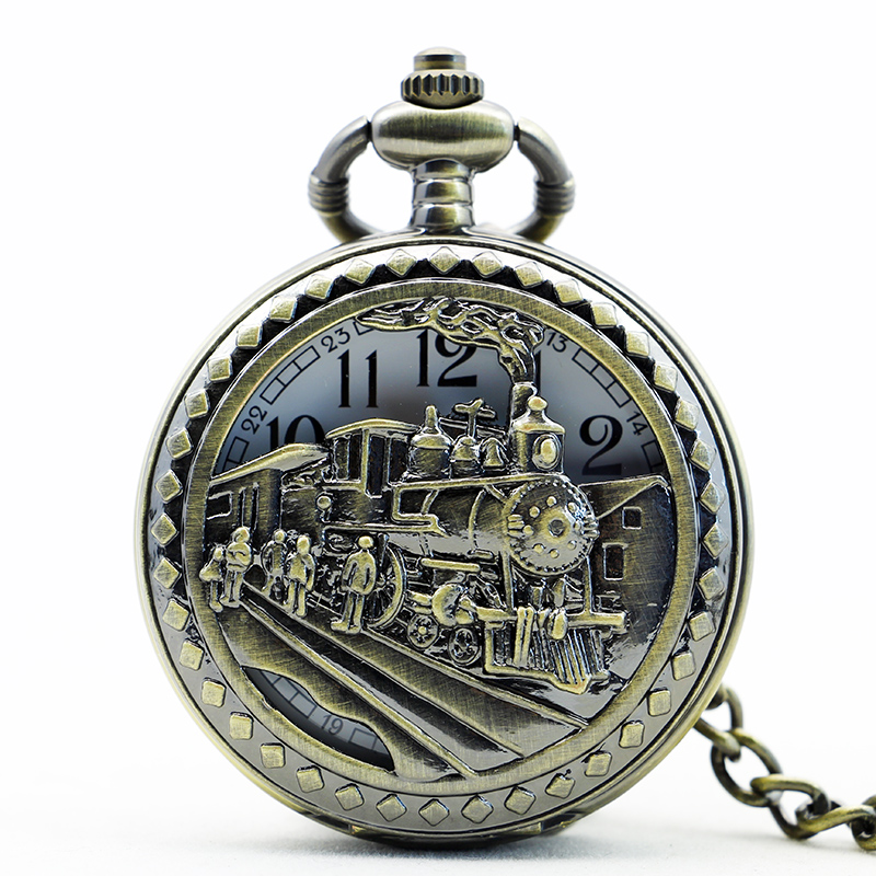 Vintage High Quality Charming Train Carved Openable Hollow Steampunk Pocket Watch Men SteamPunk Necklace Pendant Quartz Watch cindiry vintage silver charming gold train carved openable hollow steampunk quartz pocket watch men women necklace pendant clock