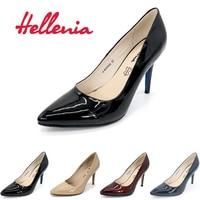 Hellenia Pompaları kadın ayakkabı Yüksek Topuklu Noktası Ayak Bayanlar Ofis Bayan Parti düğün Ayakkabı Pompa sığ PU Deri kadınlar pompalar