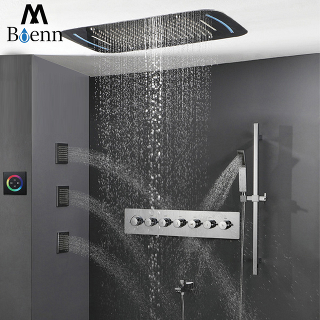 Thermostatic Mixer Valve Touch Screen Control LED Light Rianfall Shower Head Waterfall Bathroom Shower Set 71X43cm Misty Showers