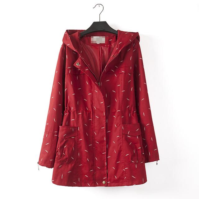 Mulheres de grandes dimensões com capuz jaqueta corta-vento de Outono 2015 new Casual Solto manga longa casaco aceitar cintura Plus Size XL-4XL 1017-82G