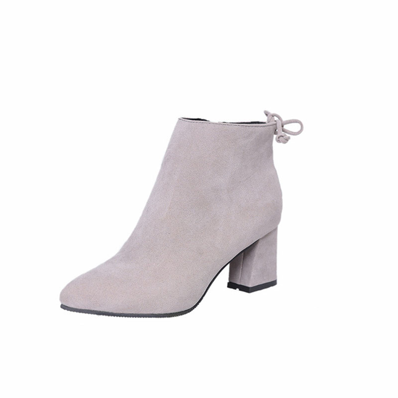 Masorini 2018 Women Boots Flock Ankle Boots Round Toe Winter Women Boots Ladies Western Stretch Fabric Boots Big Size W-186 5