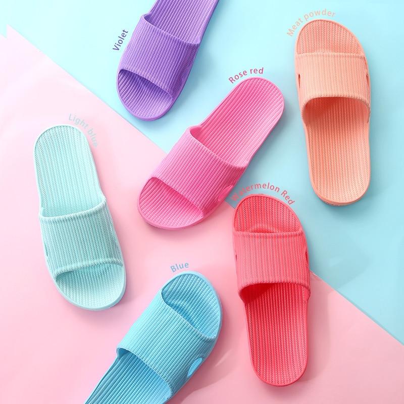 2018 Hot Marketing Slippers Summer Floor Skid Proof Home Floor Slippers Indoor Family Stripe Flat Bathroom Bath Sandal Slippers