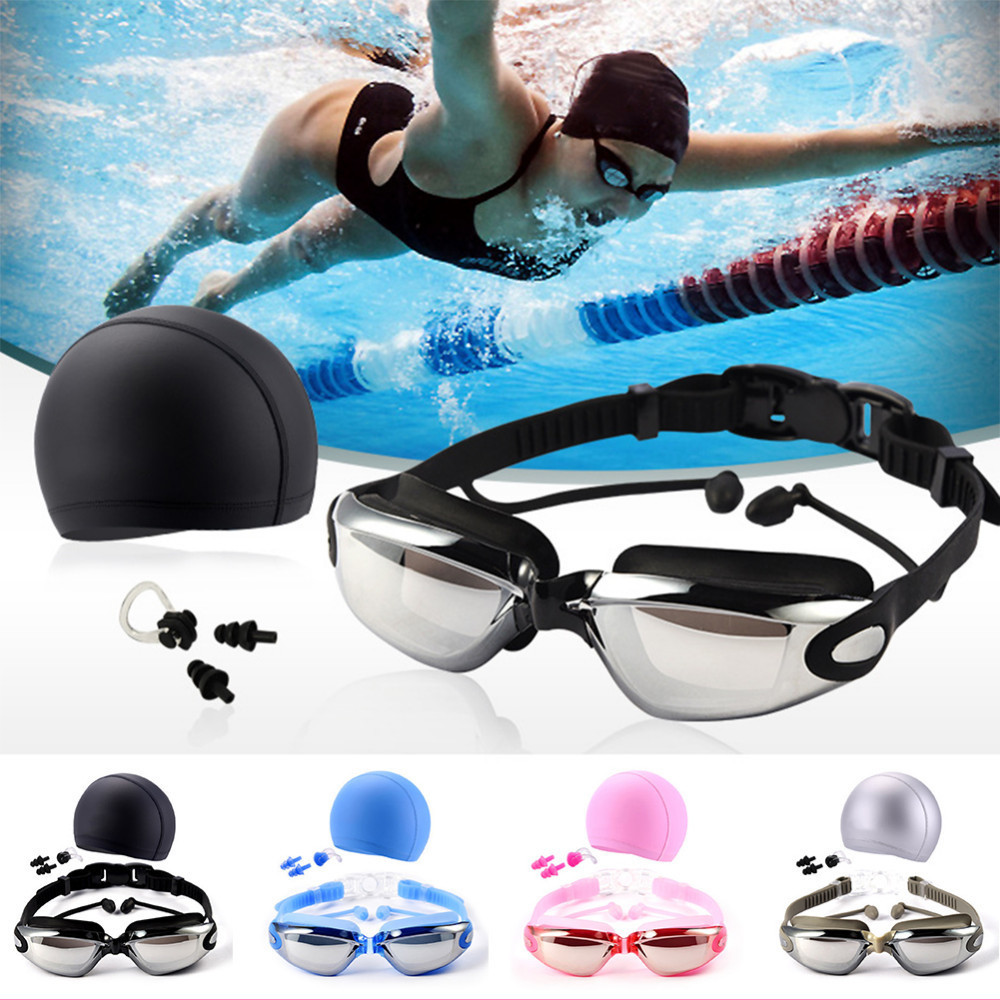 3b2f4a03d43b € 8.44 37% de DESCUENTO|Gafas de natación profesional con sombrero oído  nariz Clip traje impermeable nadar gafas anti niebla deporte profesional ...