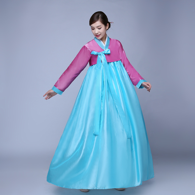 8068dc79f527 Multicolor Traditional Korean Hanbok Dress Female Korean Folk Stage ...